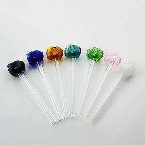 Tubos de fumar Pyrex Colorido Pyrex Burner Glass Tube de cristal 12 cm Longitud Mezcla Colores Con Cabeza De Forma De Cráneo