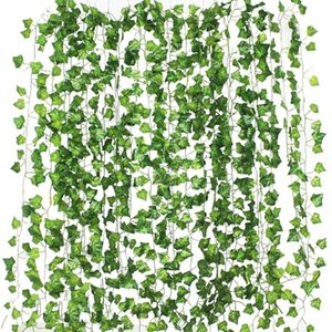 Blinds 12pcs 2M Ivy Green Fake Leaves Garland Plant Vine Foliage Home Decor Plastic Rattan String Wall Artificial Plants