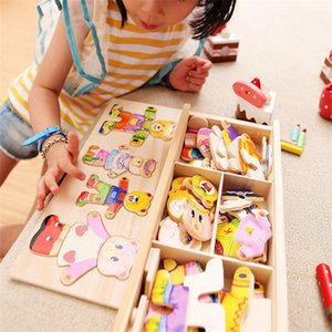 Four Cubs Change Clothes Game Wooden Children Early Hand Grasping Dress Matching Jigsaw Puzzle Toys Factory Price WHolesale 980 V2