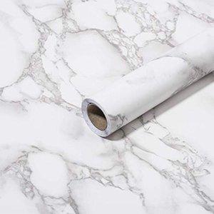 Art3D 120Inx15.8in Самоклеточный кожуры и палочка обои для кухонного столового столового стола Серый мраморная бумага Мэтт
