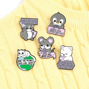 Animal Quote Enamel brooch Pins Fox Cat Penguin Mouse Polar Bear Badges Funny Letter Game Book Brooches pin for Women Men