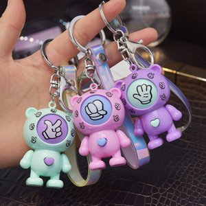 Bear Design Keychains Mora Device Key Ring Chains Holder Rock Paper Scissors Finger Guessing Play Game Toys Animal Pendant Bag Charms Promotion Gifts Keyrings