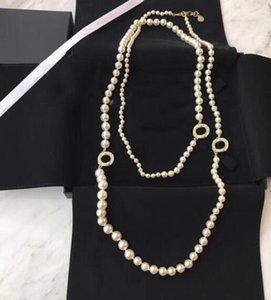 Популярные моды жемчужные свитер цепь из бисера ожерелье для женщин вечеринка свадебные украшения для невесты с коробкой HB521