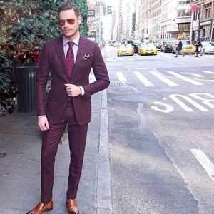 Last Coat Pant Designs Burgundy Mens Suits Slim Fit Two Buttons Groom Wedding Tuxedos Cheap Plus size Custom Suit (Jacket+Pants)