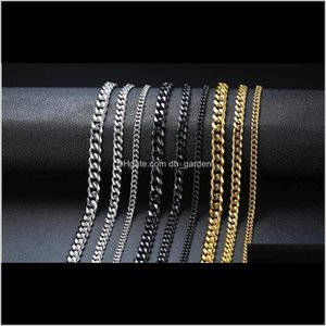 Chains Necklaces & Pendants Drop Delivery 2021 50Cm Punk Stainless Steel Black Gold Cuban Link Chain Chokers Necklace For Men Women Party Jew