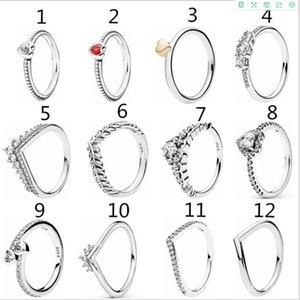 Clear CZ Diamond Princess Wish Ring Set Original Box for Pandora 925 Sterling Silver Women Girls Wedding Crown Rings sfhgu