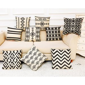 Black Striped Pillow Case Geometric Flower Wave Throw Cushion Pillow Cover Printed Cushion PillowCase Bedroom Office 45*45CM GWD10639