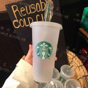 Starbucks 24OZ 710ml Plastic mugs Tumbler Reusable Clear Drinking Flat Bottom Cup Pillar Shape Lid Straw Mug Bardian 3ZS2