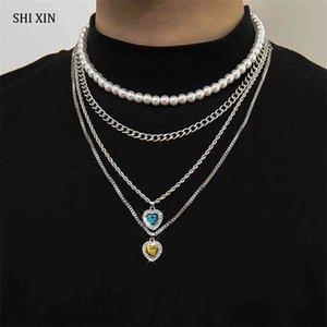 Shixin 4 шт. Слоистые жемчужные Бусины Choker Ожерелье для Женщин Любовь Сердце Хрустальные Подвески Ожерелья Мужчины Мода 2021 Цепи на шею