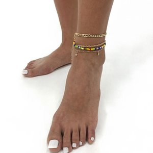Anklets Lalynnly Summer Bohemian Female Rhinestone Rice Beads Women's Handmade Exquisite Crystal Bare Foot Chain Wholesale A0074