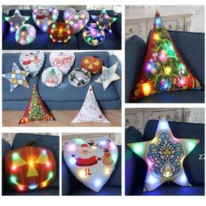 Christmas LED Luminous Pillow Covers Throw Cushion Cover XMAS Santa Claus Reindeer Pumpkin Pillow Case Sofa Car Decoration HWD10649