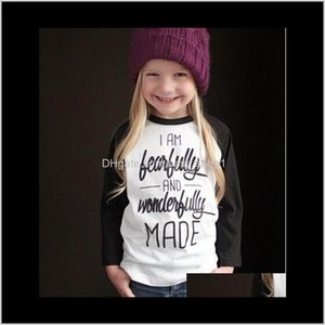 Spring Autumn Girls Letter Tshirt Kids White Black Cotton Tops Tee Baby Long Sleeve Tshirts Children Top Child Clothing L1Gn9 Byun2