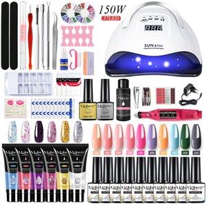 Set Acrylic Kit Semi Permanent Extension Polygels With UV Lamp drying & nail drill Machine Nail tools set