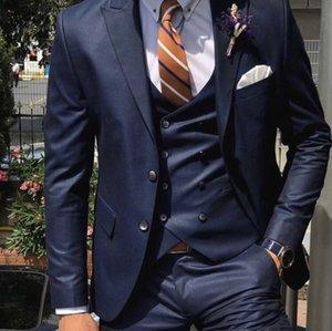 2021 Classic Wedding Tuxedos For Men Suit Navy Blue Custom Male Clothes Business Costume Slim fit Casual Design (Jacket+Vest+Pants) Prom Suits