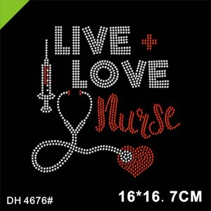 Hotfix Rhinestone motif Nurse transfers bling iron on decals 4676