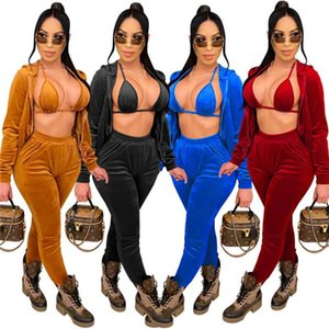 Women Sets Velvet Tracksuit Hooded Top Sweatpants Bra Matching Set New Fall Winter 3 Three Pieces Outfits