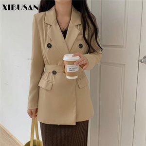 Women Korea Elegant Loose OL Style Blazers Jackets With Belt 2021 Long Sleeve Double-breasted Suits Colthing Mujer Outwear Women's &