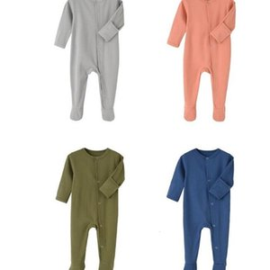 Kids Designer Clothes Boys Solid Jumpsuits Newborn Long Sleeve Onesies Infant Rompers Footies Girls Toddler Vêtement Bébé Outfits LSK51