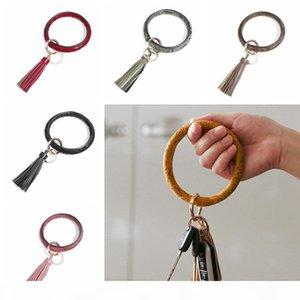 PU Leather Round Bracelet Keychain Fashion Woman Circle Tassel Wristlet Key Ring Creative Bangle Key Holder Party Gift TTA1863-1