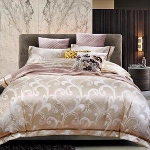 Bedding Sets 4pcs Silk Cotton Jacquard Europe Set 19 Styles Luxury Duvet Cover Bedsheet Pillowcases Queen King Size Linen Bed