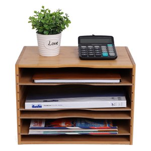 Desk File Sorter Multi Organizer Function Letter Mail Rack Tray Classification Storage 4 Adjustable Bookshelves Home Office Natural Wood Color