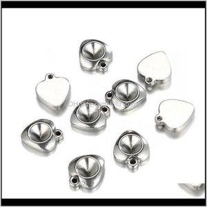 Charms 1214Mm Sier Tone Shape Base Setting Jewelry Accessories Stainless Steel Heart Charm Pendant For Handmade Necklace Bracelet K5Ld Qkj0E