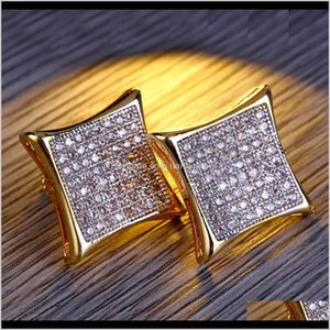 Stick Mens Luxury Hip Hop Jewelry Bling Square Shaped Iced Out Gold Diamond Stud Wedding Earrings Gift Fvjtp Bj3Pl