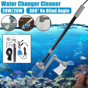 20 / 28W Aquarium eléctrico Tanque de agua Cambio de agua Bomba de acuario Herramienta de limpieza Cambiador de agua Limpiador de grava Bomba de filtro Sifón 210430