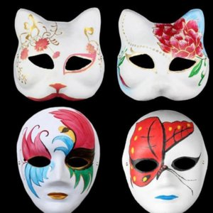 Halloween White Plain Party Mask Masquerade Masks Full Face Masks DIY Hand-Painted Pulp Plaster Covered Paper Mache Blank Mask