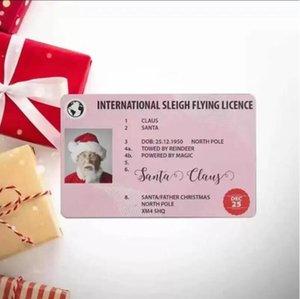 تسليم سريع هدية عيد الميلاد بطاقات المعايدة سانتا 86 * 54MM CLAUS مضحك بطاقة رخصة قيادة CS11