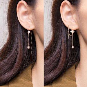 100 % Real 925 스털링 실버 스타 스레드 귀걸이 섬세한 긴 별 술 tassel 귀걸이 여자를위한 나사 칠기 귀걸이 E00192021
