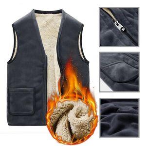 Winter Casual Sleeveless Jacket Men Warm Fleece Vest Large Size Solid Color Thick Men's 40P Accessories