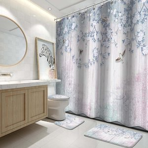Shower Curtains 4 Pcs Shower-Curtain Bohemian Colorful Striped Curtain Set Fabric Bathroom Decor, 72 X72 Inch