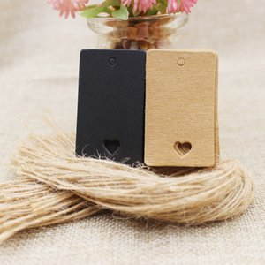 5*3cm retangular black  Kraft Paper Blank Card Hand Draw Gift Label Tags Heart Hollow 100pcs+100 hemp string per lot