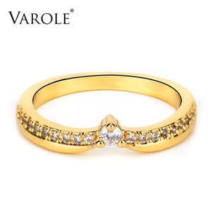 VAROLE Rings For Women with CZ Gold Color Geometric Circle Ring Fashion Jewelry Friend Gifts Anillos Mujer