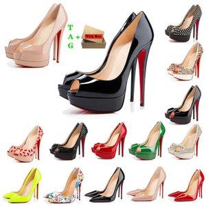 Женщина красные днище высокие каблуки платформа Peep-Toes Sandals дизайнеры сексуальные заостренные носки красные индивидуальные 8 см 10 см 12 см насосы роскошь люкс женщин свадьба