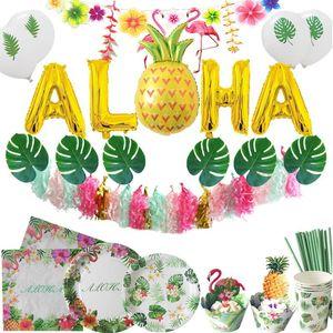 Disposable Dinnerware Party Hawaii Tableware Plates Cups Napkin Tropical Summer Palm Leaf Balloons Wedding Birthday Luau Aloha Festival Supp