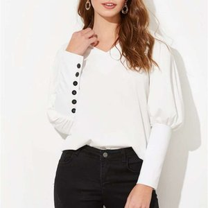 Puff Sleeve Women Blouse Shirt Button White V Neck Tops Spring Elegant Office Lady Streetwear Blusas Women Shirts