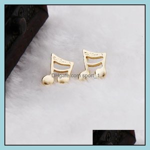 Jewelry Fashion Gold Plated Notes Earring Cute Cat With Tail Crystal Stud Alloy Earrings Wholesale Drop Delivery 2021 Gm9H3