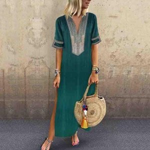 Party Dresses Long Slim And Thin Sleeve Printed Fashion Casual Sexy Dress Straight Summer Women 2021 Plus Size S-5XL