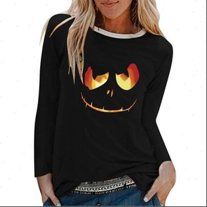 Pumpkin Head Printed Women T Shirt Long Sleeve shirts Autumn Winter Graphic Tees Funny for Casual