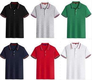 2021 Lüks Erkek Polo Gömlek Erkekler Pamuk Karışımı Kısa Kollu Rahat Tasarımcı Yaz Nefes Katı Tişört Boyutu S-3XL