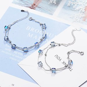 Charm Bracelets Fashion Women's S925 Silver-plated Double Crystal Box Sweet And Light Luxury XZS