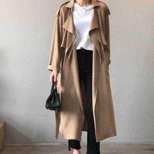 Women's Trench Coats Classic Lapel Womens Clothes Autumn Retro Coat With Belt Casual Large Mid-Long Black Khaki Daily Commute Windbreaker