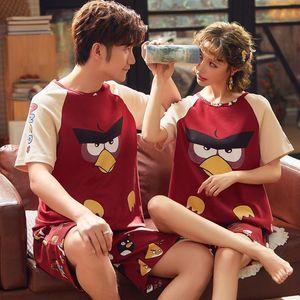 Womens Sleepwears 100% Cotton Couple Pajamas Short Pyjama Femmel Shorts For Women And Men Leisure Striped Matching Night Suit