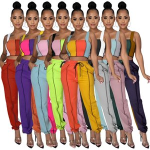 Contrast Color Tracksuits Casual Bandage Two Pieces Sets Women Streetwear Sleeveless Tank Crop Top and Jogger Sweatpant Active Matching Set