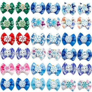 Dog Apparel 50 100pcs Winter Style Small Bows Yorkshire Hair Cute Blue Snowflake Accessories For Dogs