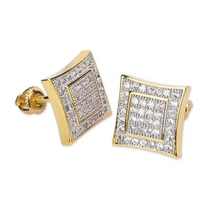 Hip Hop Shining Square Stud Earrings New Style Bling Full White Zircon 18K Gold Plated Jewelry Wholesale
