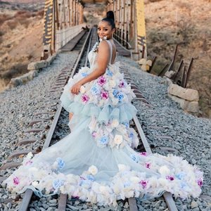 2021 Plus Size Arabic Aso Ebi Colorful Beaded Wedding Gowns Backless Hand Made Flowers Hi-Lo Bridal Dresses ZJ475