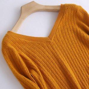 Lhzsyy 2019 outono inverno nova mulheres pura cashmere camisola moda dupla decote em v torcido twisted high-end pulôver Slim Slim Warm Knit Camiseta1